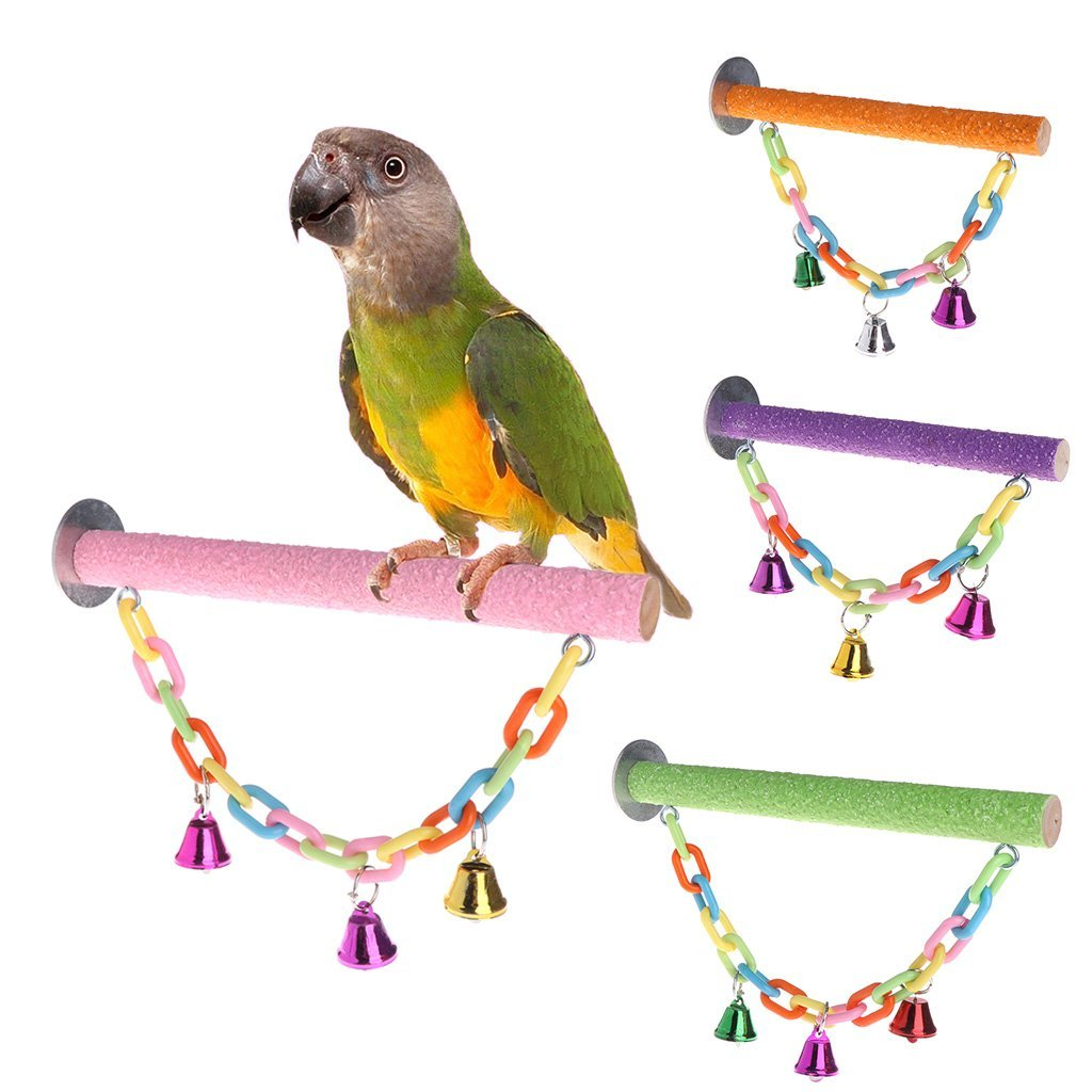 Parrot Perch Bird Stand Holder Swing Toys Puzzle Chew Bite Colorful Paw Grinding Premium Quality by Yevison