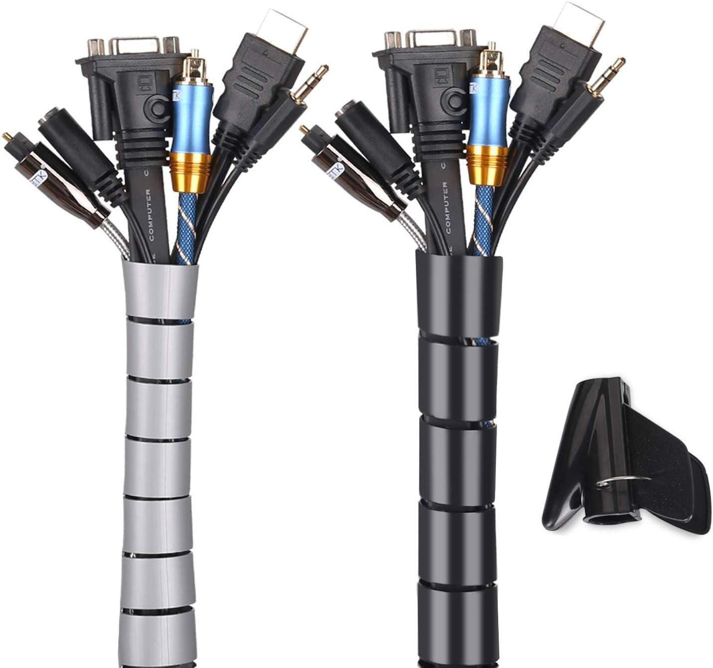 ,Noir Cache Cable 2 Pack,Flexible Range C/âble Mosotech 2x3m PE C/âble Rangement Organisateur de C/âble pour Ranger ou Cacher les c/âbles,Gaine pour c/âbles 2.2cm /Ø et 1.6cm/Ø