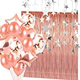 How to Make a Shower Curtain Rose Gold Confetti Balloons(20 Pack) and Metallic Tinsel Foil Fringe Curtains(2 Pack) with Star Banner(2 Pack) Party Supplies and Decoration Set for Bachelorette Birthday Party Or Graduation Wedding