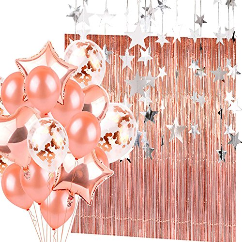Rose Gold Confetti Balloons(20 Pack) and Metallic Tinsel Foil Fringe Curtains(2 Pack) with Star Banner(2 Pack) Party Supplies and Decoration Set for Bachelorette Birthday Party Or Graduation (Gold Tinsel Star)