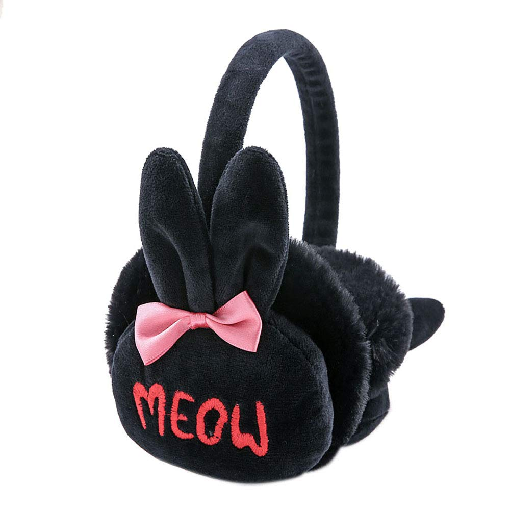NICOLA Women Kids Plush Bunny EarMuffs Foldable Winter Ear Warmers for Outdoor