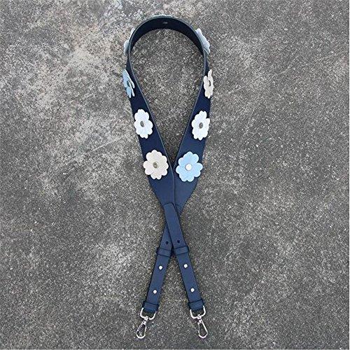 Flower Style Length 110cm Adjustable Strap replacement shoulder bag / messenger bag strap Silver buckle Shape DIY (Deep blue)