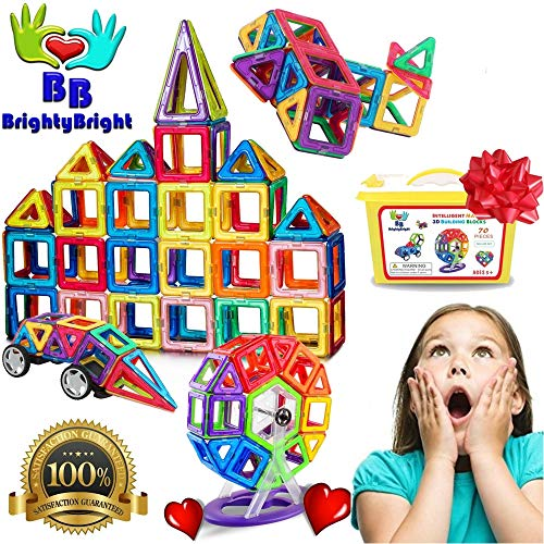 BrightyBright Toys Magnetic Blocks Tiles - Building Set for Kids - 70 Pc Intelligent Magnets 3D Stem Educational Construction Toy for Boys and Girls Deluxe Set with Storage Box