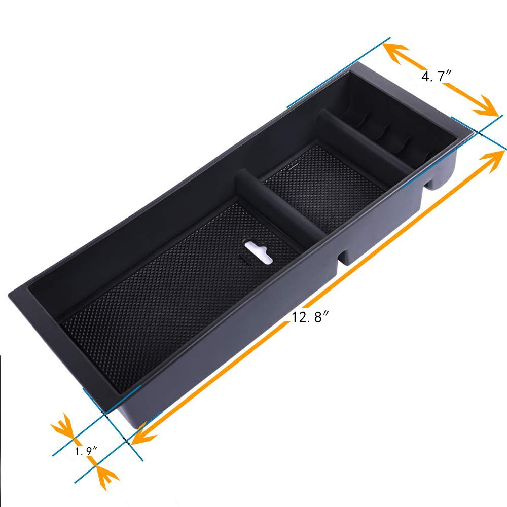 Ecoconut Storage Box F150 Center Console Insert Organizer ABS Tray Pallet Storage Box Container with USB Hole for Ford F150 2015 2016 2017 2018