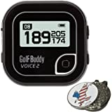 BUNDLE: 2017 Golf Buddy Golfbuddy Voice 2, Blue or Black + Custom Ball Marker and Hat Clip Set