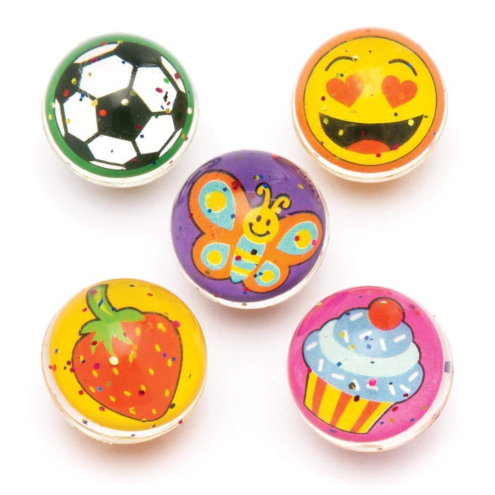 Baker Ross Pack de 8 Pelotas de goma saltarinas originales Bolas de goma para ni/ños con dise/ños originales para bolsas sorpresa en fiestas o para jugar en el recreo