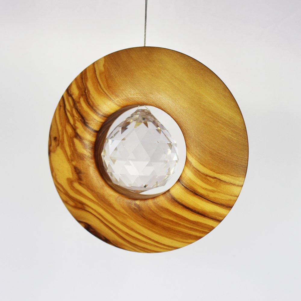 Fenster Deko zum Aufh/ängen Fensterdeko Geschenkidee Sonnenf/änger Holz mit Kristall 40mm Kreis