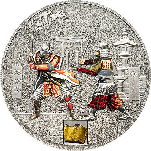 2015 CK Modern Commemorative SAMURAI HISTORY Original Armor 1 Oz Silver Proof Coin 5$ Cook Islands 2015 Antique Finish