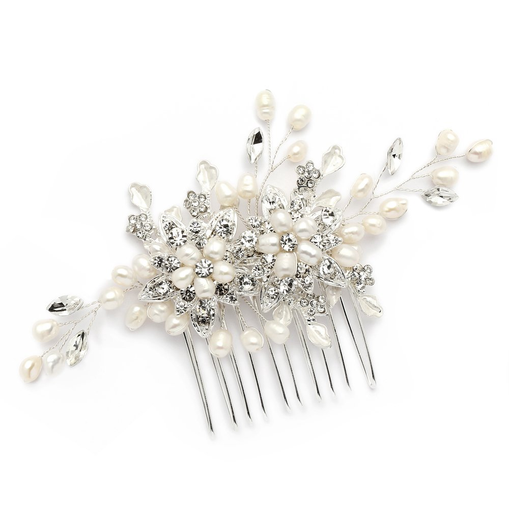 Mariell Genuine Freshwater Pearl Wedding Hair Comb - Designer Bridal Headpiece with Crystal Sprays by Mariell
