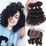 Unprocessed Brazilian Aunty Fumi Virgin Hair 3 Bundles With Closure Cheap Bouncy Curls Human Hair Weave With Closure 1B -141416+12inch