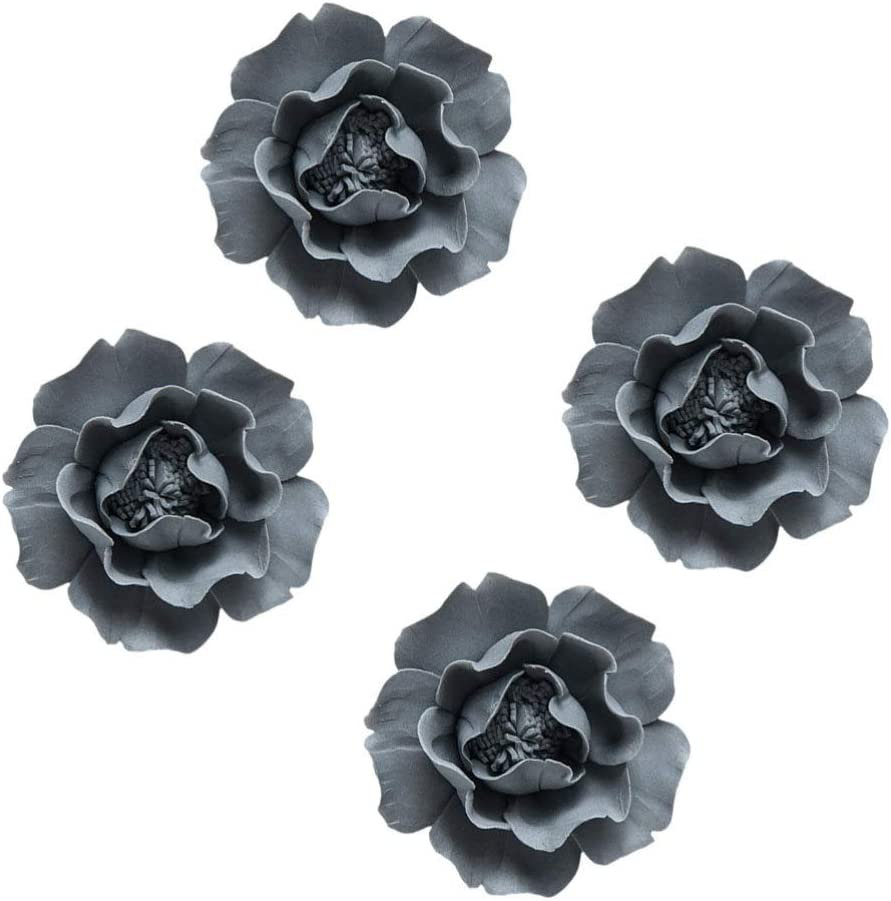 VOSAREA 4 Pcs Ceramic Flowers Wall Decor 3D Peony Decoration Wall Sculptures Wall Hanging Decors for Living Room Bedroom House