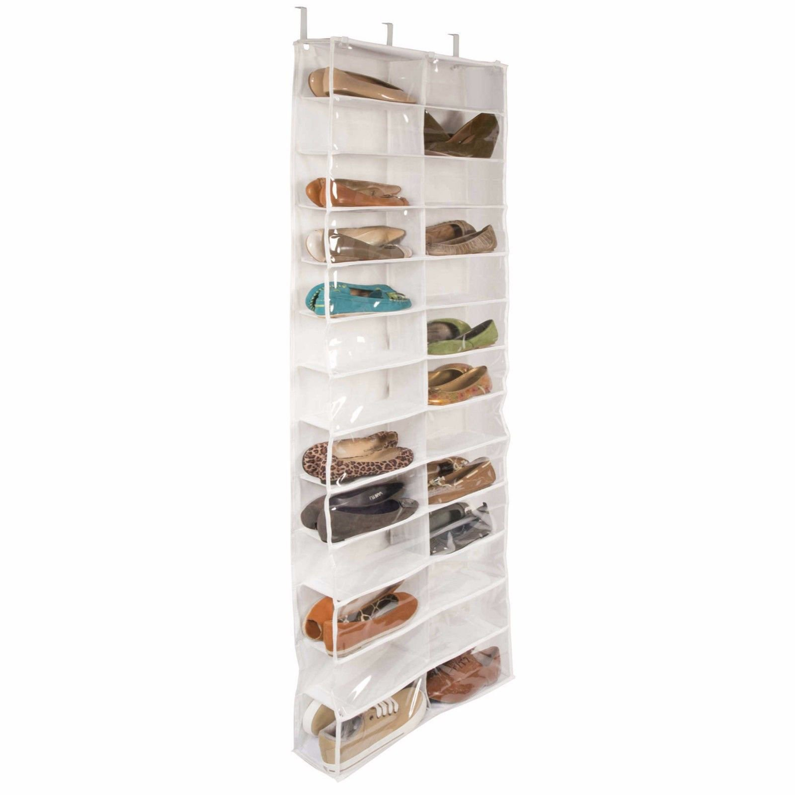 Shoe Door Over Rack Hanging 26 Organizer Storage Pocket Saver Space Hanger Holder Clear Wall