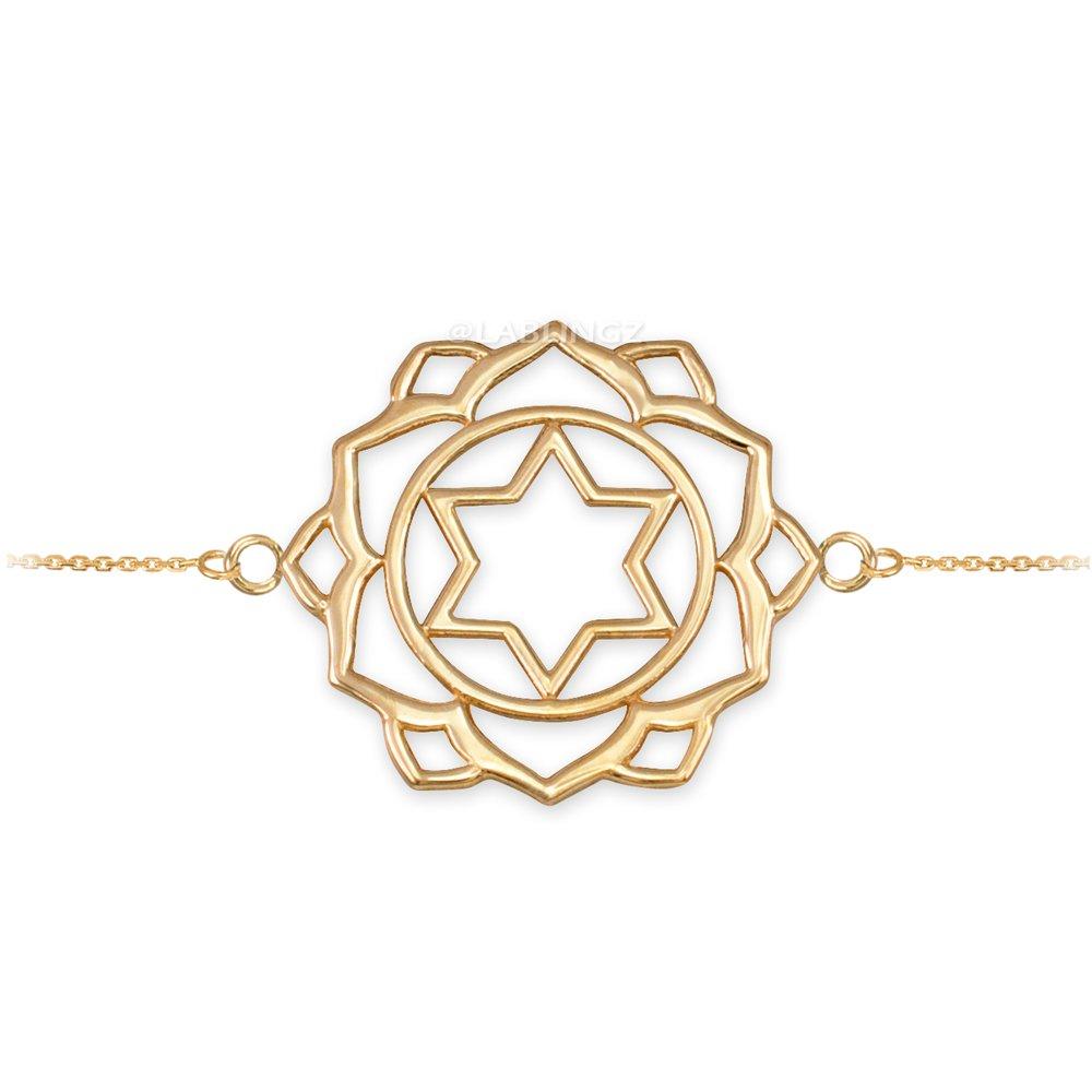 14K Yellow Gold Anahata Love Chakra Yoga Bracelet