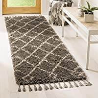 Safavieh Moroccan Fringe Shag Collection MFG241A Grey and Cream Runner Rug (23 x 7)