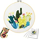 Embroidery Starter Kit with Catus Pattern and Instructions, Embroidery kit for Beginners, Cross Stitch Set, Full Range of Sta