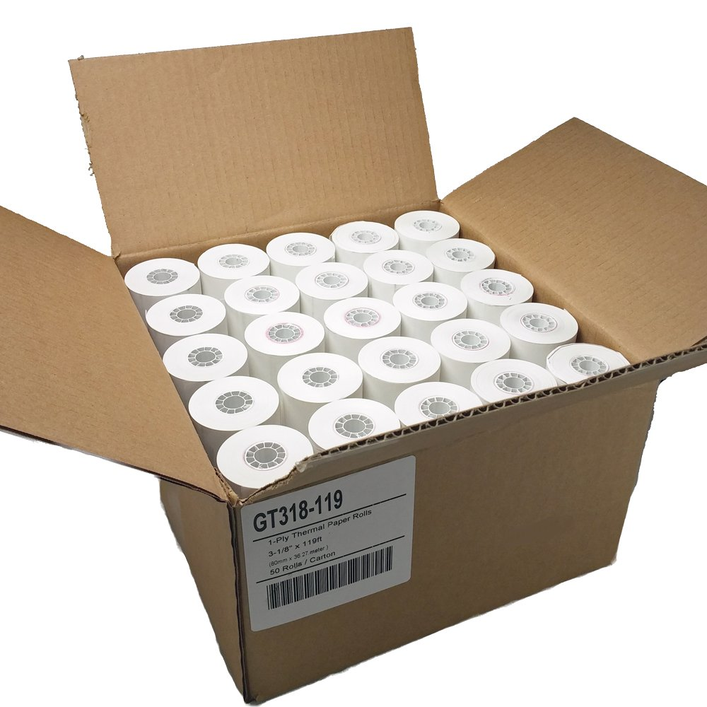 Gorilla Supply (50) 1ply Thermal Paper Rolls 3-1/8 X 119ft by Gorilla Supply