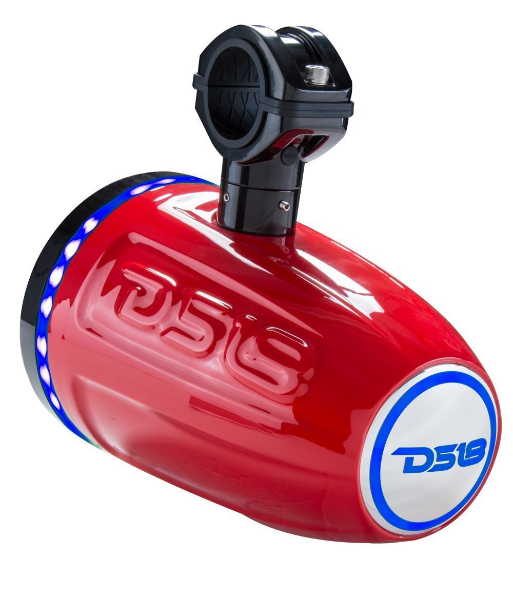 DS18 NXL6TPR 6.5 Inch Red Marine 6.5'' Hydro 2-Way Wakeboard Tower Speaker (with Integrated RGB Led Lights/300W Max/100W RMS), 2 Pack
