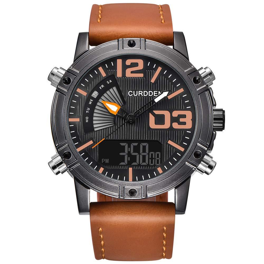 Guartz Watches for Men Digital Under 10 Dollars ❤ Mens Sports Watches LED Military Leather Analog Quartz Wristwatc Gift