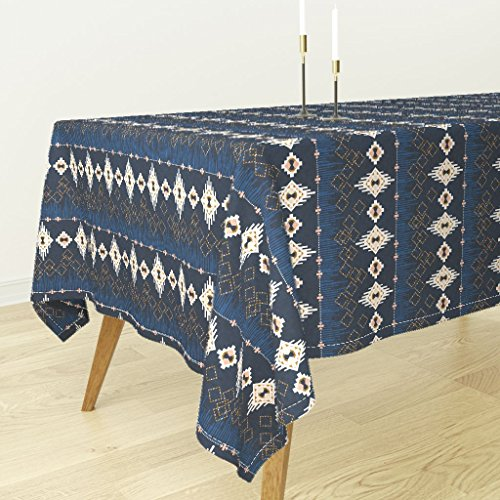 Roostery Tablecloth - Native American American Indian Navajo Dream Catcher Navy Southwest Bohemian by Nouveau Bohemian - Cotton Sateen Tablecloth 70 x 90 by Roostery