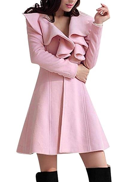 Abrigos Mujer Largos Otoño Invierno Hipster Termica Color Sólido Chaqueta Elegantes Manga Larga Ropa Slim Fit con Volantes Abrigo Lana Outwear: Amazon.es: ...
