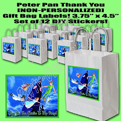 Peter Pan Party Favors Supplies Decorations Gift Bag Label STICKERS ONLY 3.75
