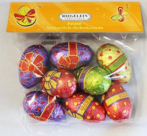 Foil Wrapped Easter Eggs (Riegelein Foil Wrapped Chocolate Easter Eggs - 8 Pcs 100gram)
