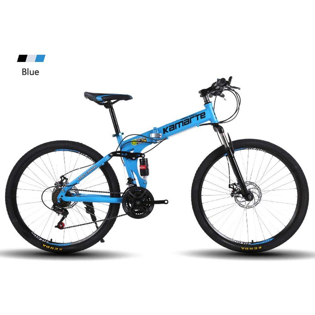 Bicicleta de montaña Plegable Bicicleta amortiguación transmisión aleación de Aluminio 24/26 Pulgadas Doble Disco de Freno,Yellow: Amazon.es: Hogar