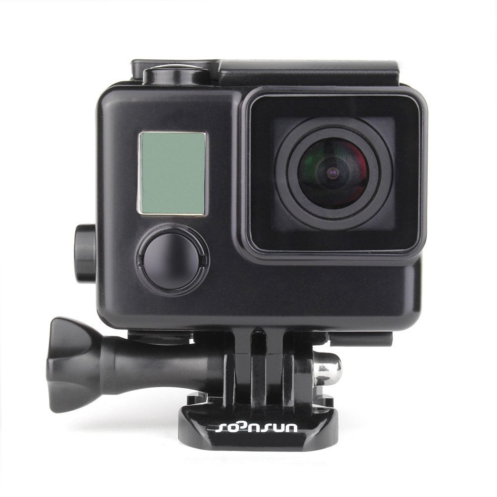 and Hero 3 Camera Hero 3 SOONSUN Side Open Protective Skeleton Housing Case with Skeleton Backdoor and Silicone Lens Cap for GoPro Hero 4