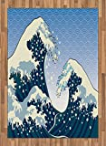 Japanese Wave Area Rug by Ambesonne, Far Eastern Painting Oceanic Storm Theme Tsunami Wind Water Artwork, Flat Woven Accent Rug for Living Room Bedroom Dining Room, 5.2 x 7.5 FT, Teal Blue White