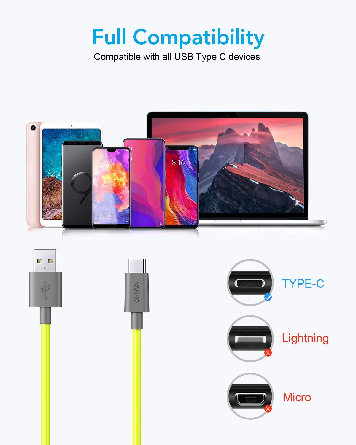 USB Type C Cable for Samsung Galaxy Note 9 8 S8 S9 S10 10 Plus,LG V50 V40 G8 G7 G6 Thinq VANKO Type-C Charger Cable Premium 3A Fast Charging Cord 6.6ft+3.3ft+1ft Moto Z Z3,Switch and More 3-Pack