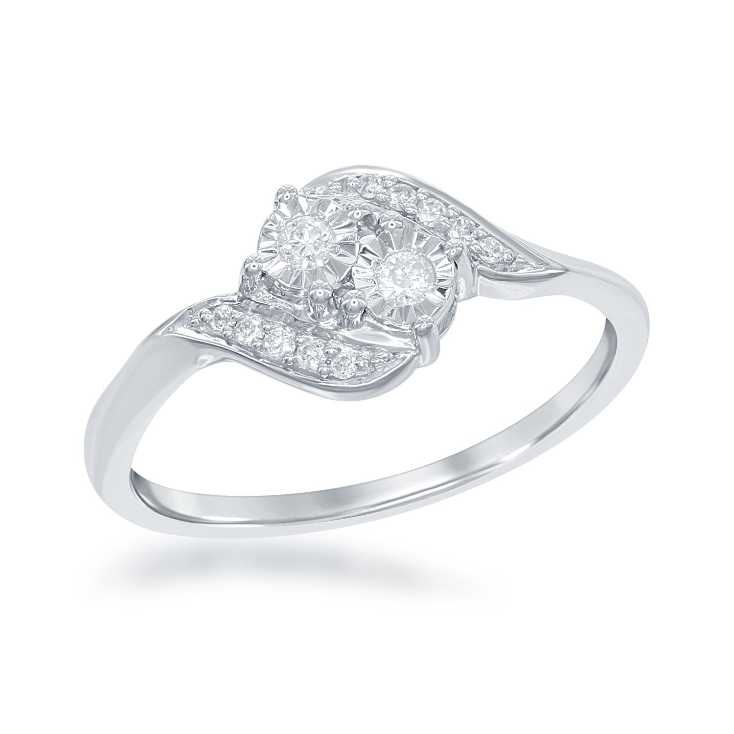 """Sterling Silver Diamond Two-Stone .12 cttw """"By your side"""" Engagement Ring"""