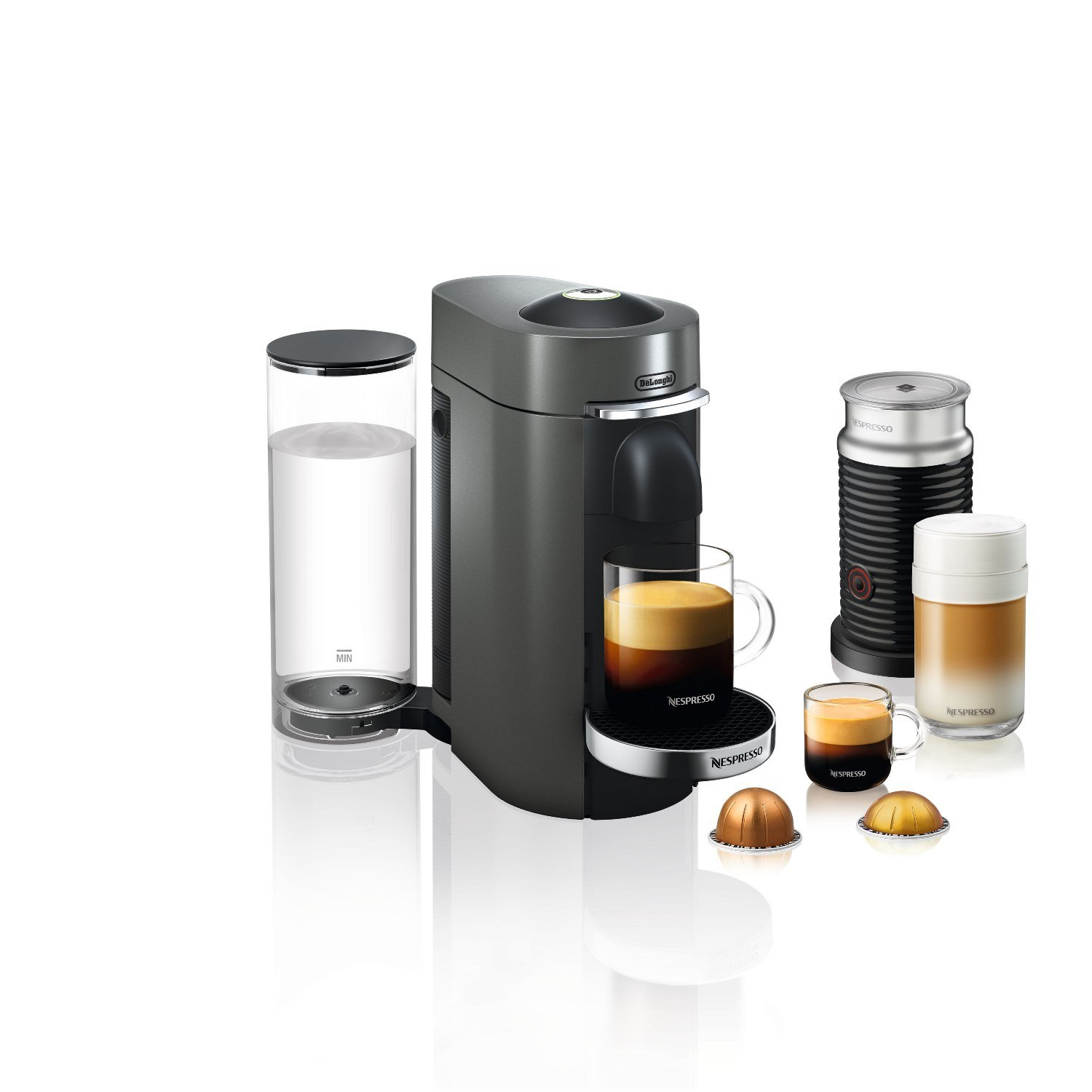 Delonghi ENV155TAECA Nespresso Vertuo Plus Deluxe Coffee and Espresso Maker by De'Longhi with Aeroccino, Titan