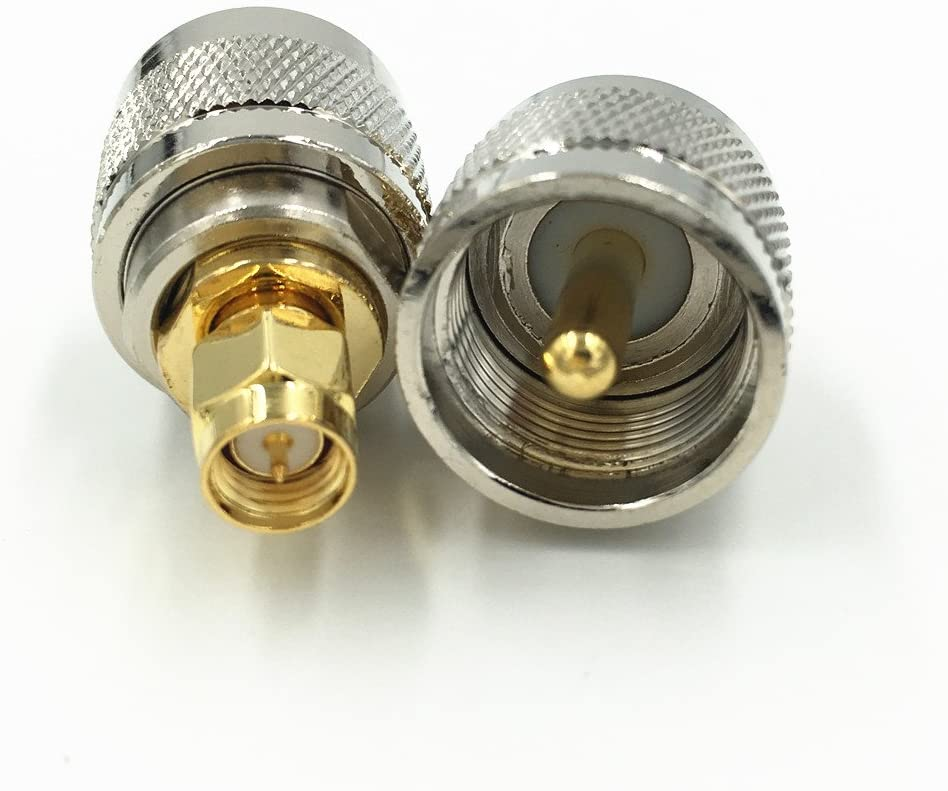 50Pcs Brass UHF PL-259 Male to SMA Male Jack Plug RF Coaxial Coax Adapter UHF to SMA Straight M//M Connector