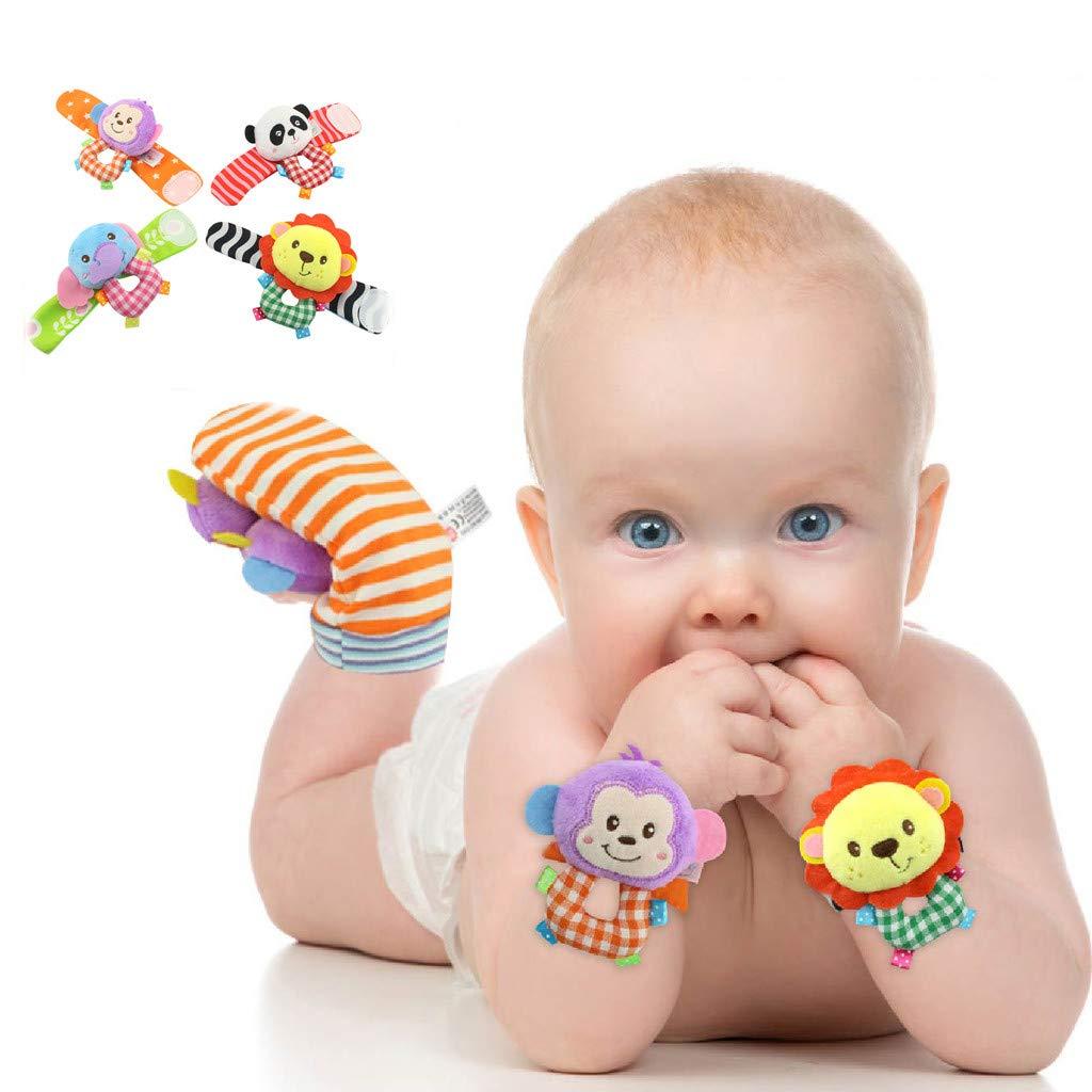 Panda VNEIRW 1Paar Baby Handgelenk Spielzeug Pl/üschtiere Kleinkindspielzeug Baby Rasseln mit Sch/ön L/öwe