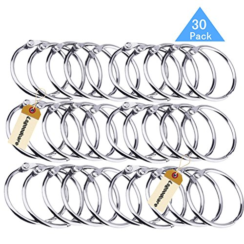 Lsgoodcare Metal Loose Leaf Binder Rings with 1.97 Inch Interior Diameter, Silver Openable Rings for Book/Key Chain/Photo Card/Paper Organization/Curtain Ect, Pack of 30 by Lsgoodcare