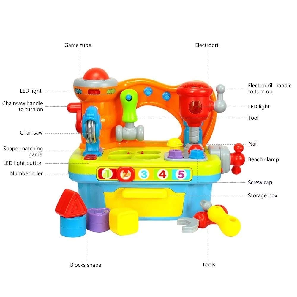 Musical Learning Workbench Toy for Kids Multifunctional Construction Work Bench Building Tools Engineering Sound Effects and Lights Multiple Handy Tools and Shape Sorter Great Toy for Boys /& Girls