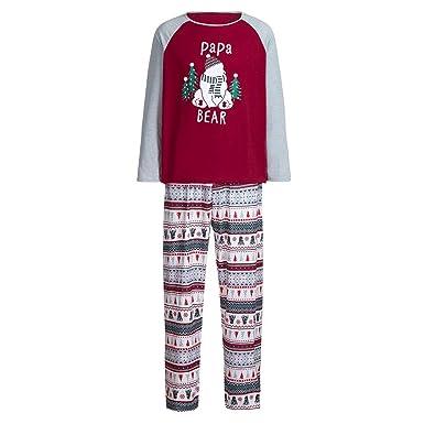 5b137fe553 FEDULK Matching Family Pajamas Christmas Bear Tree Print Sleepwear Boys and  Girls Pjs Sets(Red
