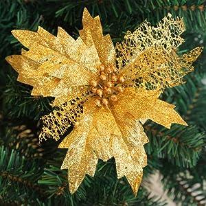 AkoMatial Artificial Fake Flowers, Hollow Glitter Poinsettia Fake Flower Christmas Tree Wedding Party Decoration - Golden 70
