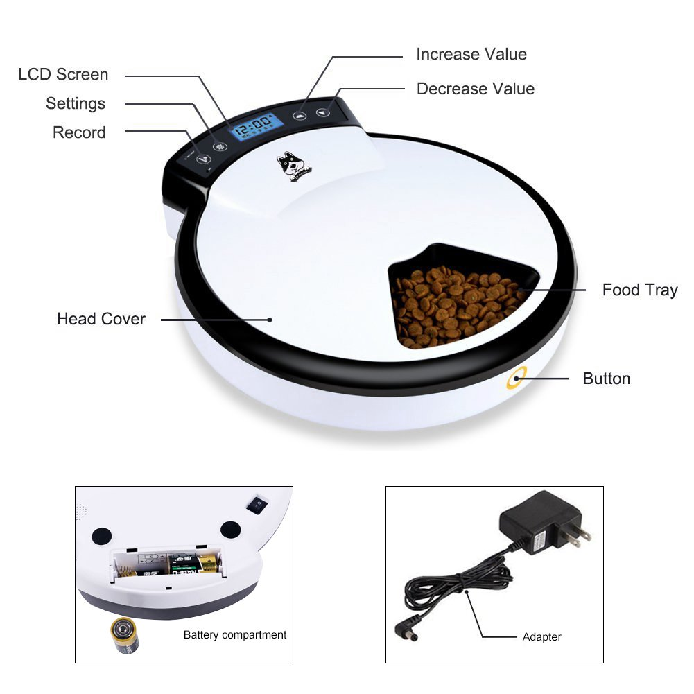 TDYNASTY DESIGN Automatic Pet Feeder for Dogs & Cats | Dry & Wet Food - 5 Meals, 5 x 240ml by TDYNASTY DESIGN (Image #5)