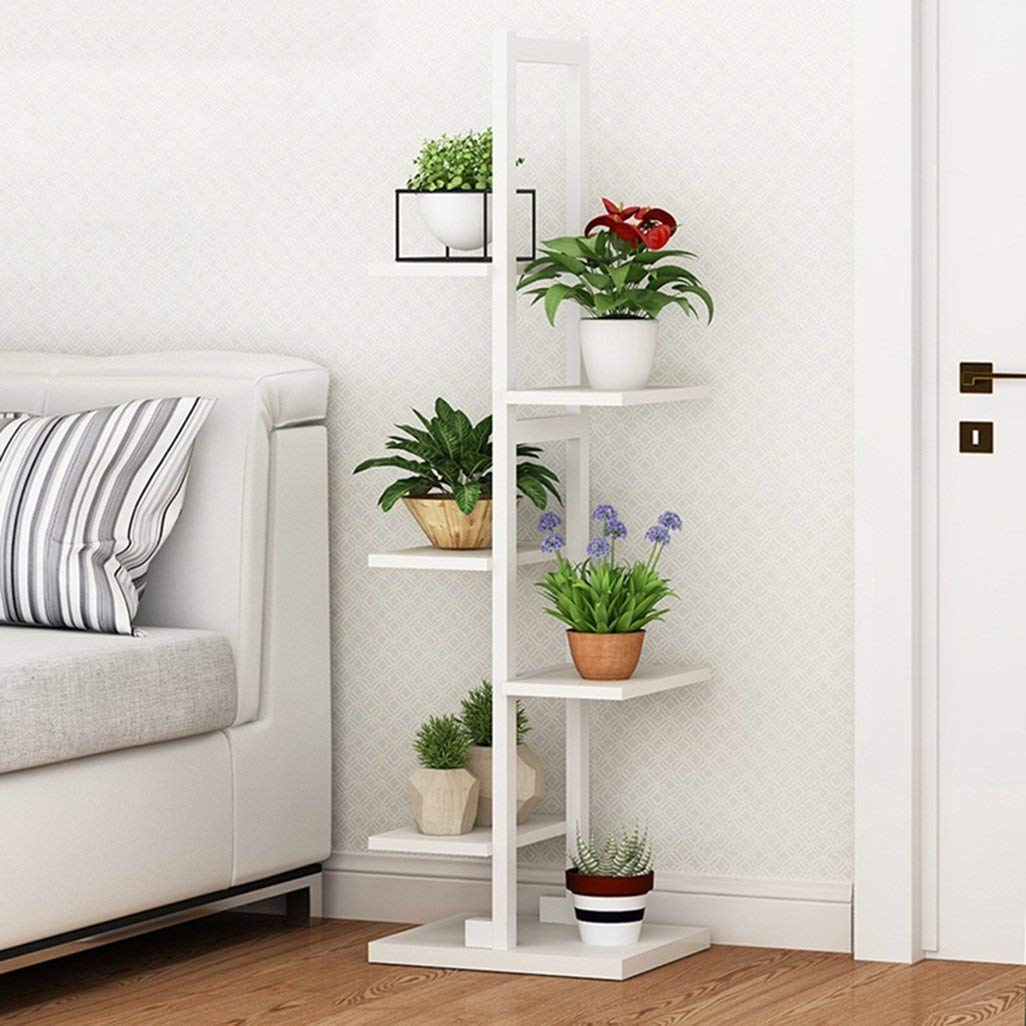 ガーデンフラワーポットラックホームフラワースタンド耐久性のある植物ラック リビングルームスチールウッドフラワースタンド狭い錬鉄製の多層屋内多機能マルチ肉緑大根の棚の寝室の装飾的なフレームの着陸(カラー:ディープウォールナット) (色 : White) B07PCS5PN7 White