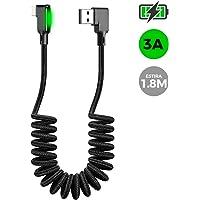 BINDEN Cable con Resorte para iPhone Ideal para Automóvil,Luz LED, Ángulo de 90 Grados, 3A, hasta 1.8m