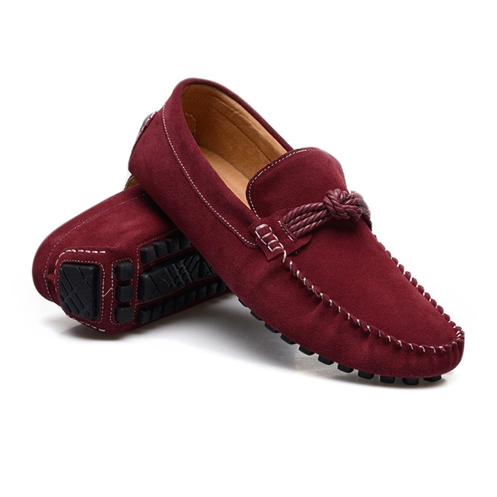 Shufang-shoes, Mocasines Planos para Hombre 2018, Mocasines Ligeros de Cuero Genuino con cordón de cáñamo para Conducir, Piel auténtica, Granate, ...