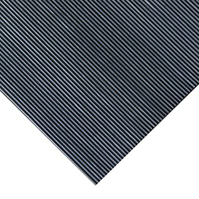 "Rubber-Cal ""Fine Rib"" Rubber Matting - 1/8"" Thick x 36"" Wide Runner Mats - Black - Offered in 6 Lengths"
