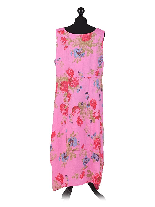 ae204491b51 New Ladies Italian Floral Print Linen Square Neck Sleeveless Dress Plus Size  (cerise)  Amazon.co.uk  Clothing