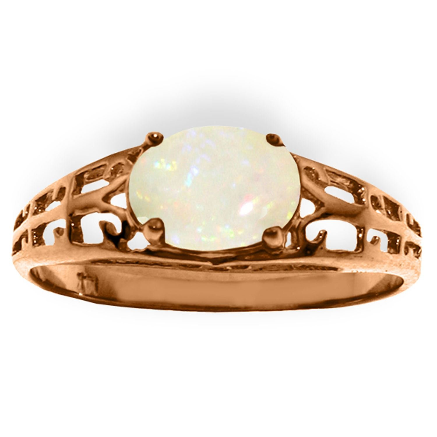 ALARRI 14K Solid Rose Gold Filigree Ring w/ Natural Opal With Ring Size 10 by ALARRI (Image #2)