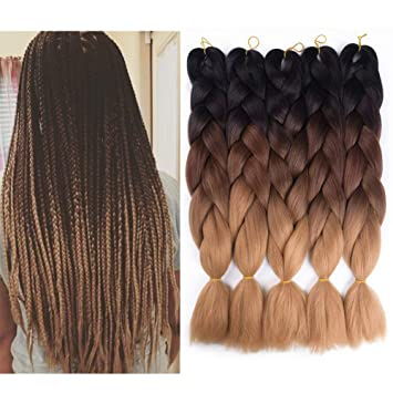 Jumbo Braids Hair Extensions & Wigs Sallyhair 24inch Ombre Braiding Hair 2 Tone Black Wine Red Color Jumbo Braids High Temperature Fiber Synthetic Hair Extension