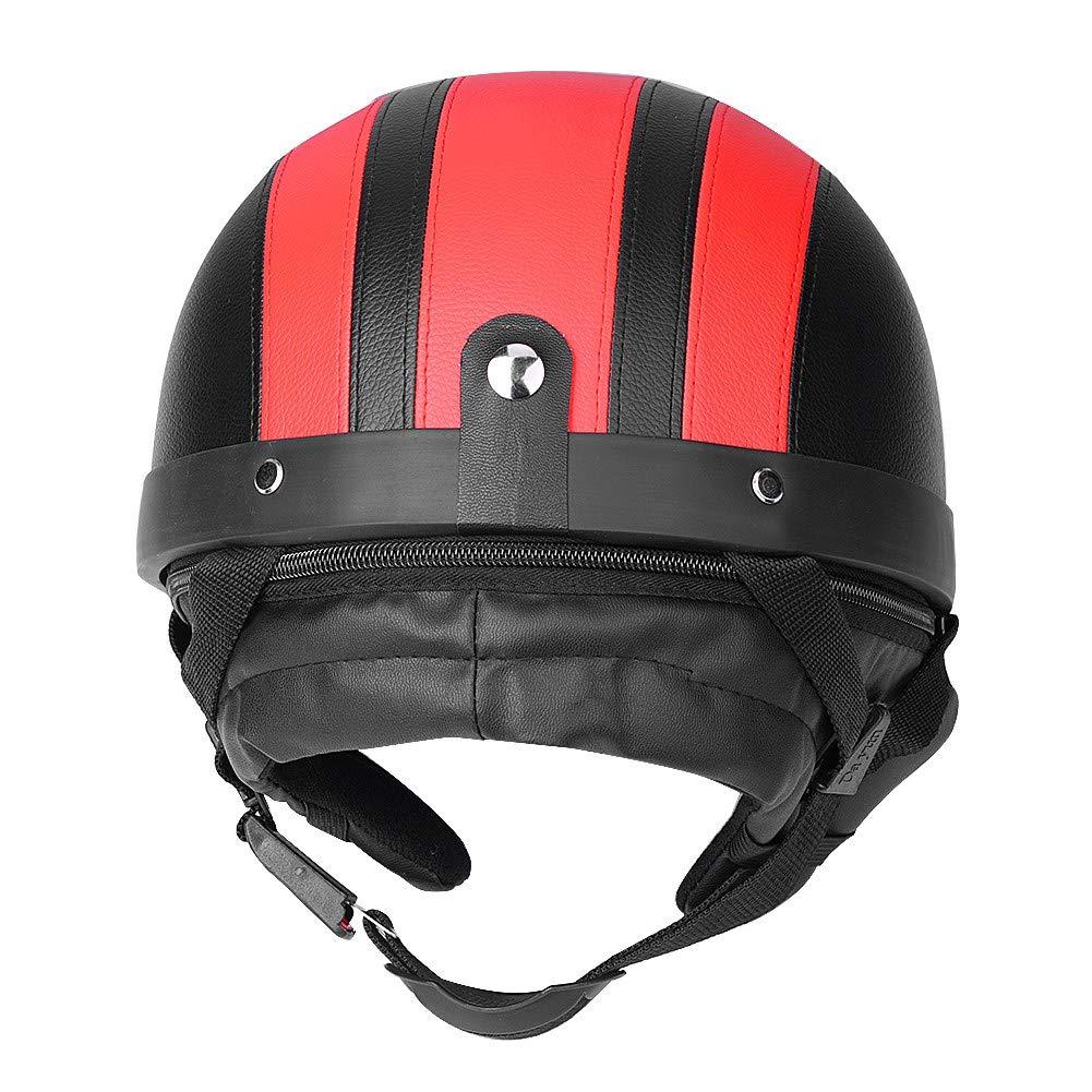 Cocoarm Jethelm Motorradhelm Halbschalenhelm Rot Roller Helm Motorrad-Helm Scooter-Helm Rollerhelm Halber Helm und Visier UV-Brille