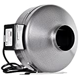 iPower 4 Inch 190 CFM Duct Inline Fan Vent Blower for Exhaust and Intake, Grounded Power Cord
