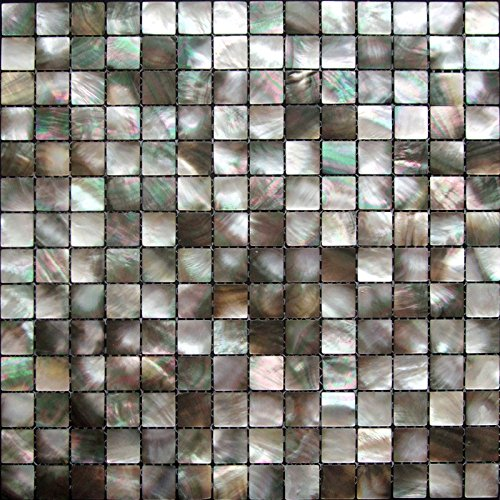 Siciz Black Mother of Pearl Mosaic Tiles Genuine Shell Tiles 5 Square Feet