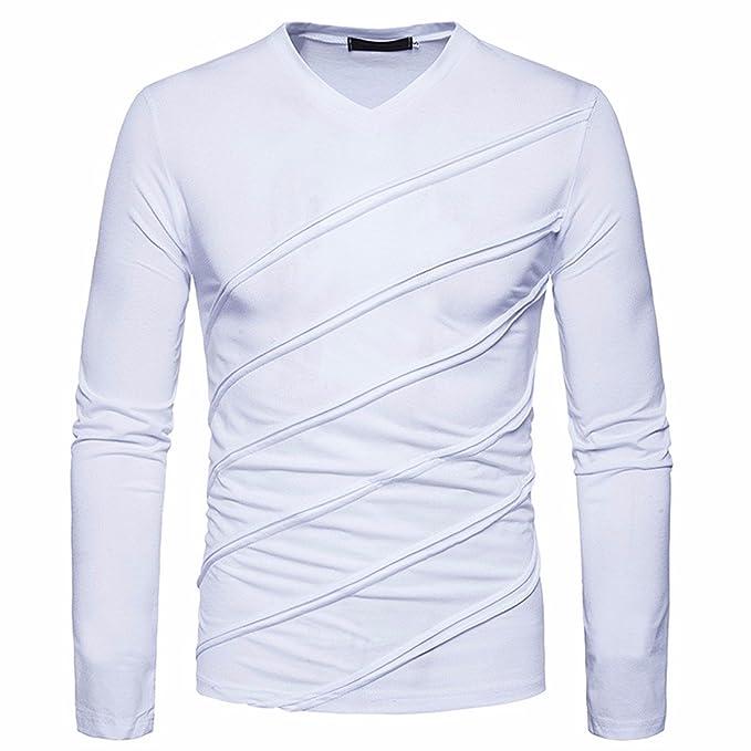 Z Los Hombres De Moda Cuello En V Manga Larga Rayas Jersey Blusas Camisetas